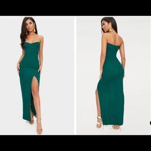 Emerald Green Extreme Split Maxi Dress